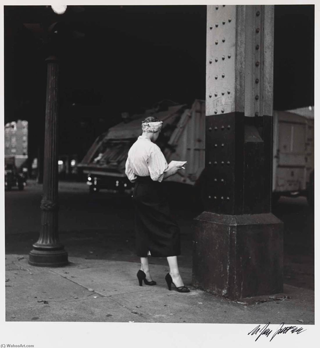 Woman Reading Paper Under the El, 1990 by Nathan Jay Jaffee | Museum Art Reproductions Nathan Jay Jaffee | WahooArt.com