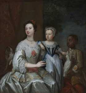 John Giles Eccardt - Lady Grace Carteret (1713–1755), Countess of Dysart with a Child (Lady Frances Tollemache , 1738–1807), and a Black Servant, Cockatoo and Spaniel