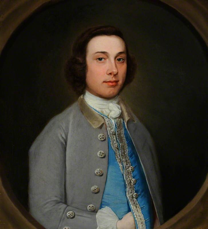 Order Art Reproductions | Portrait of an Unknown Young Gentleman in a Grey Coat and Light Blue Waistcoat, 1760 by Henry Pickering | WahooArt.com