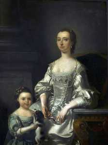 Buy Museum Art Reproductions | Mrs Thomas Johnson and Her Daughter, 1759 by Henry Pickering | WahooArt.com