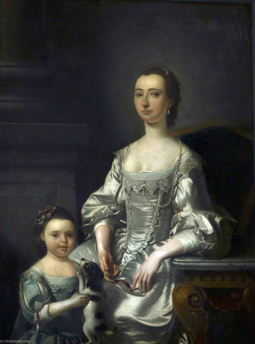 Mrs Thomas Johnson and Her Daughter, 1759 by Henry Pickering | Museum Art Reproductions Henry Pickering | WahooArt.com
