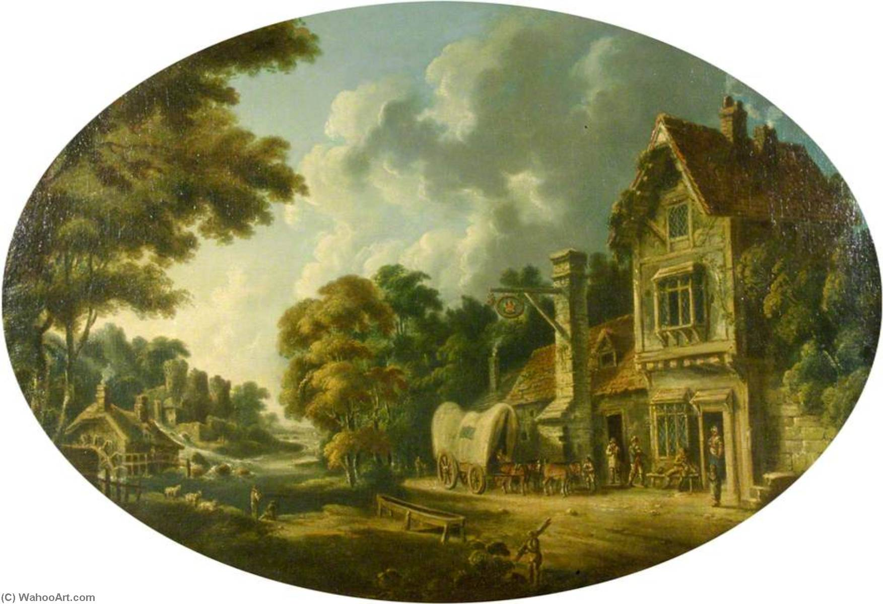 The Crown Inn, 1770 by Nicholas Thomas Dall | Oil Painting | WahooArt.com