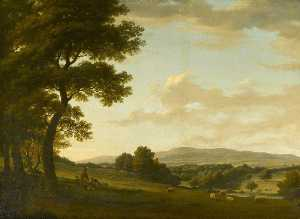 Nicholas Thomas Dall - An Extensive Landscape with Figures by a Tree and a Distant Town