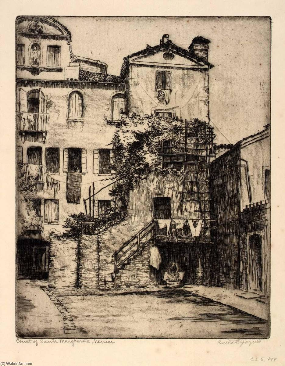 Court of Santa Margherita, Venice, 1911 by Bertha Evelyn Jaques | Museum Art Reproductions Bertha Evelyn Jaques | WahooArt.com
