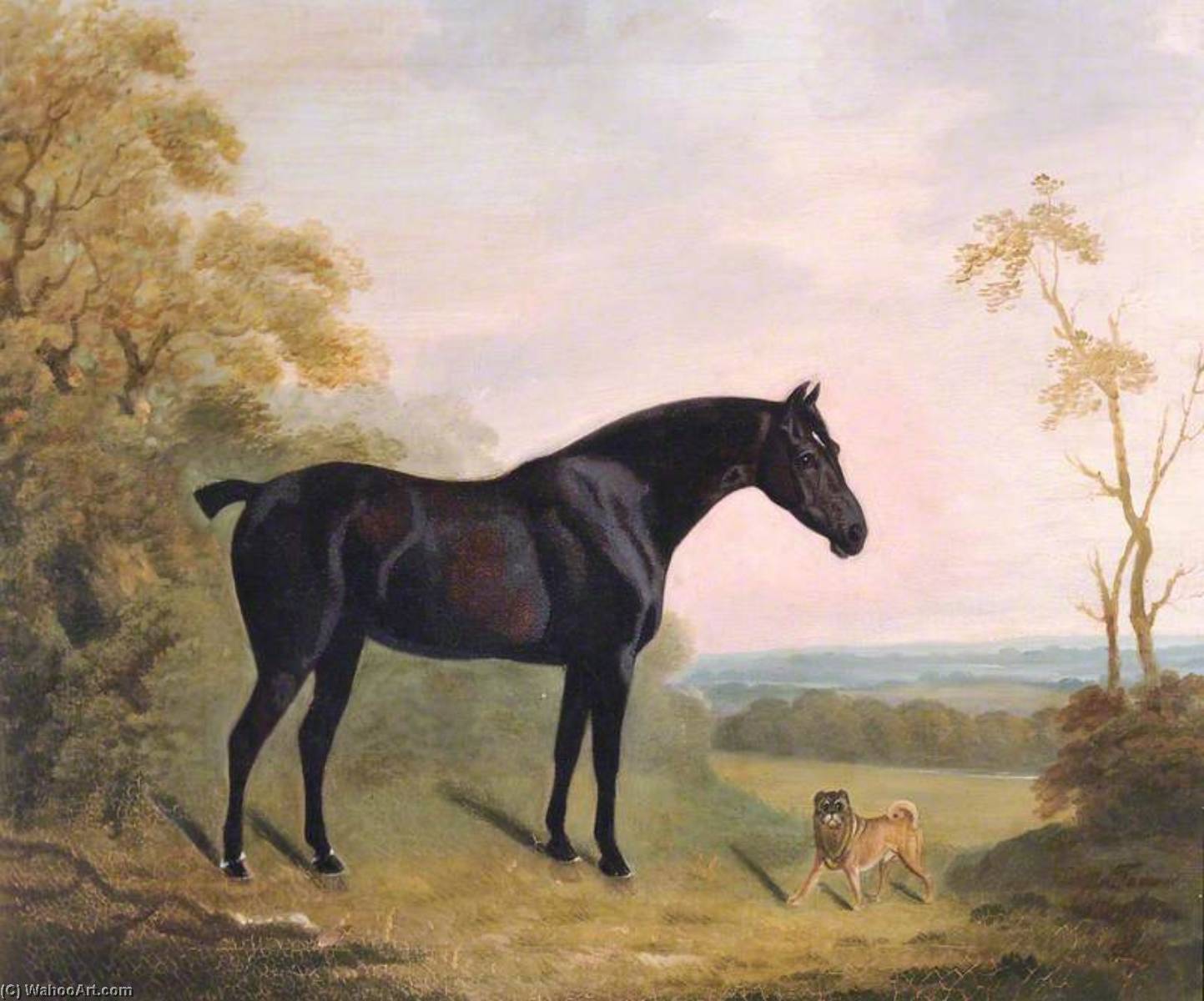 A Bay Hunter and a Pug Dog in a Landscape, Oil On Canvas by Clifton Tomson