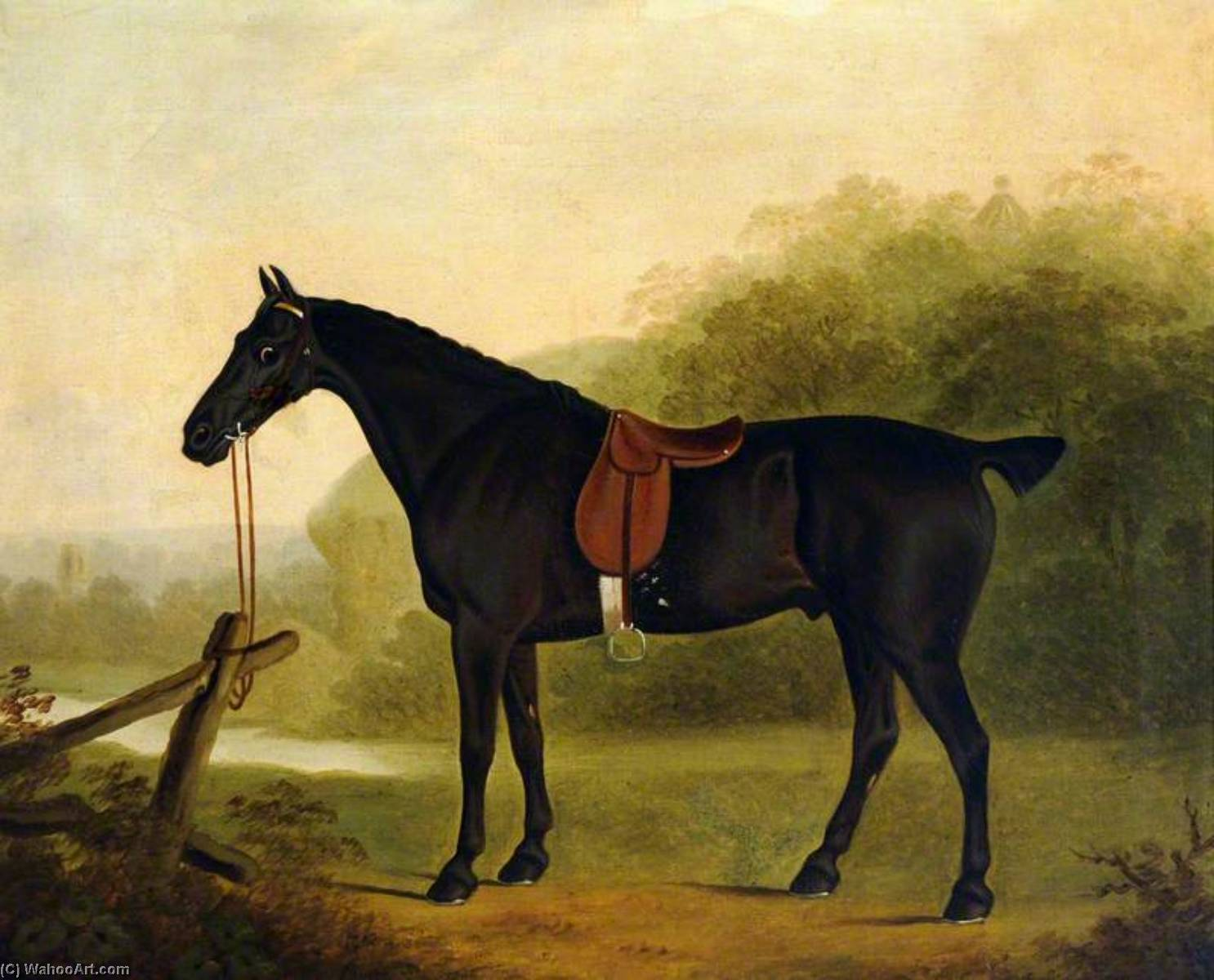A Saddled Black Hunter in a Landscape, 1804 by Clifton Tomson | Reproductions Clifton Tomson | WahooArt.com