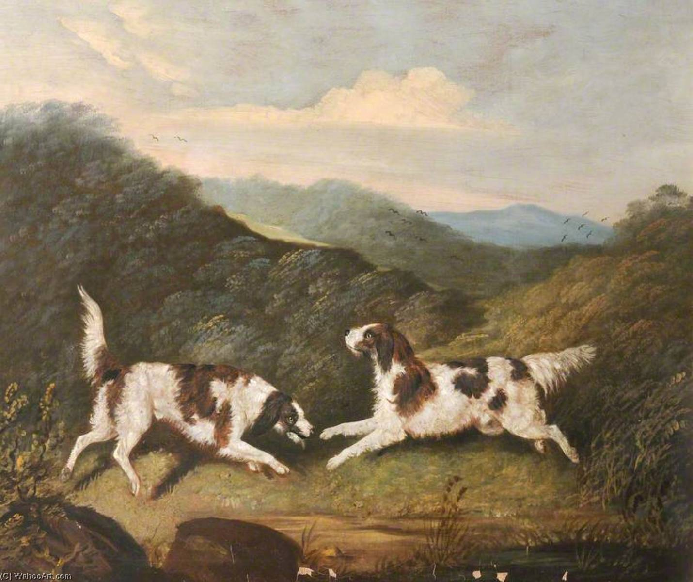 Two Springer Spaniels in a Landscape, 1811 by Clifton Tomson | WahooArt.com
