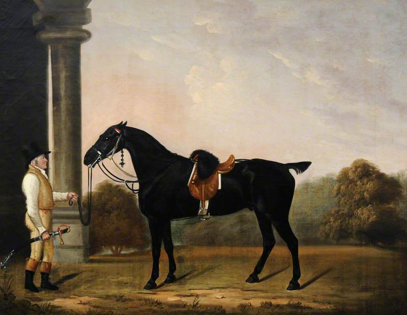 'Sheepface', a Black Charger, with Stainsby the Groom, Oil On Canvas by Clifton Tomson