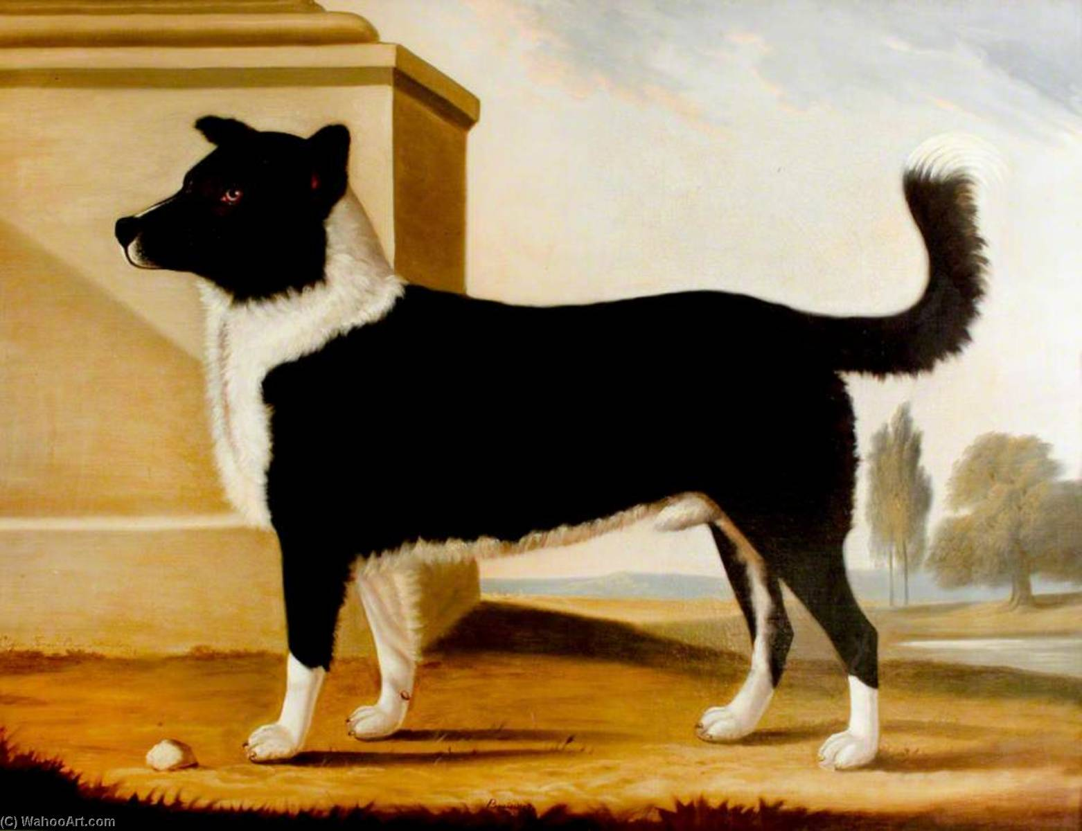Lord Byron`s Dog `Boatswain` (1803–1808) (The Newfoundland), 1808 by Clifton Tomson | Painting Copy | WahooArt.com