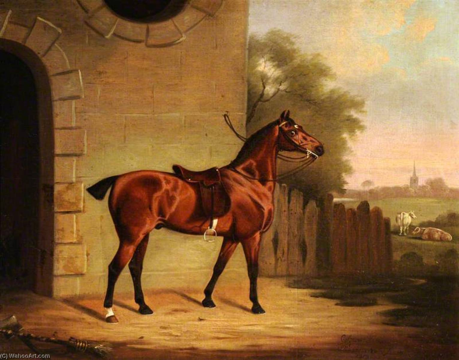 A Saddled Bay Hunter outside a Stable Entrance, Oil On Canvas by Clifton Tomson