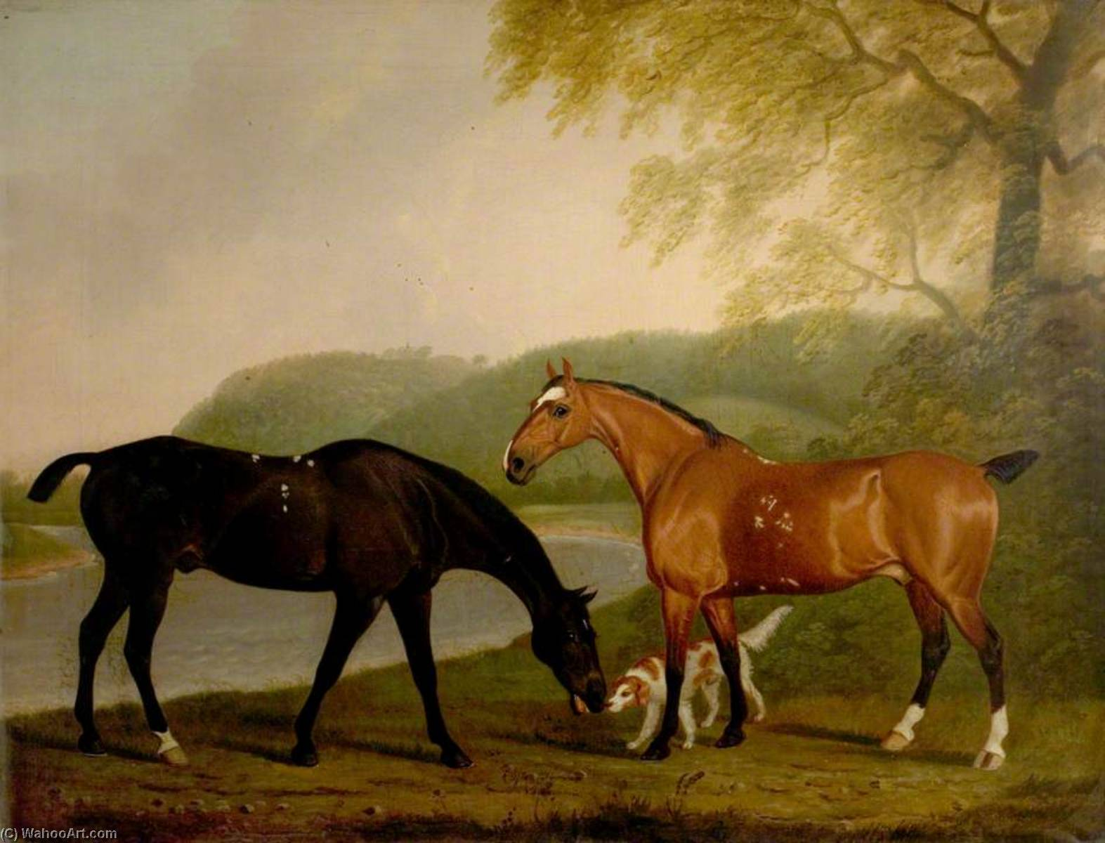 Horses and Dog in a Landscape, Oil On Canvas by Clifton Tomson