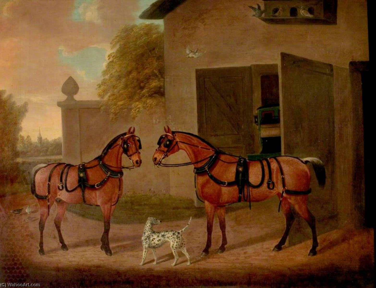 Carriages, Horses and Dogs by Clifton Tomson | Famous Paintings Reproductions | WahooArt.com