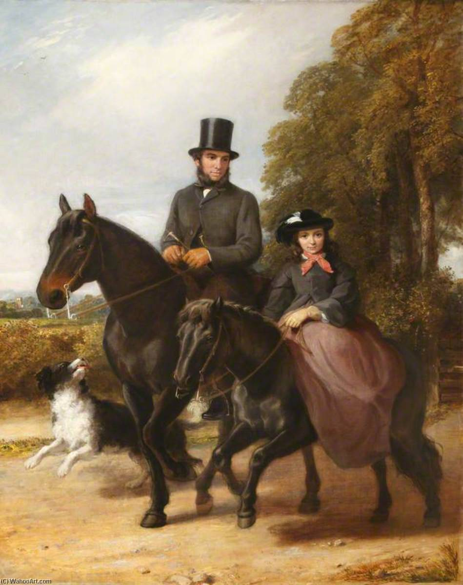 George Ward (1822–1887), and His Daughter Fanny (1850–1939) Riding, 1861 by Richard Buckner (1812-1883) | Oil Painting | WahooArt.com