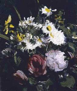 Samuel John Peploe - Flowers against a Dark Background