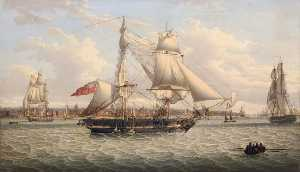 Robert Salmon - A Sailing Ship in the Mersey