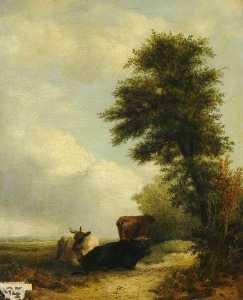 John James Wilson Ii - Landscape with Cattle