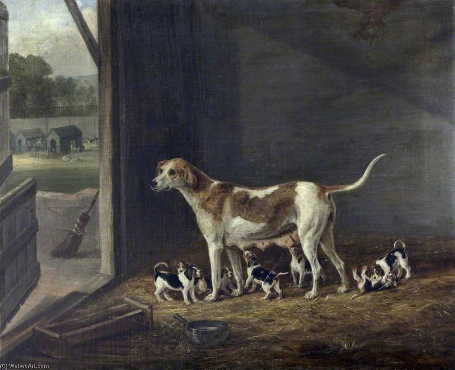 A Foxhound Bitch with Her Litter in a Kennel, Oil On Canvas by William Webb