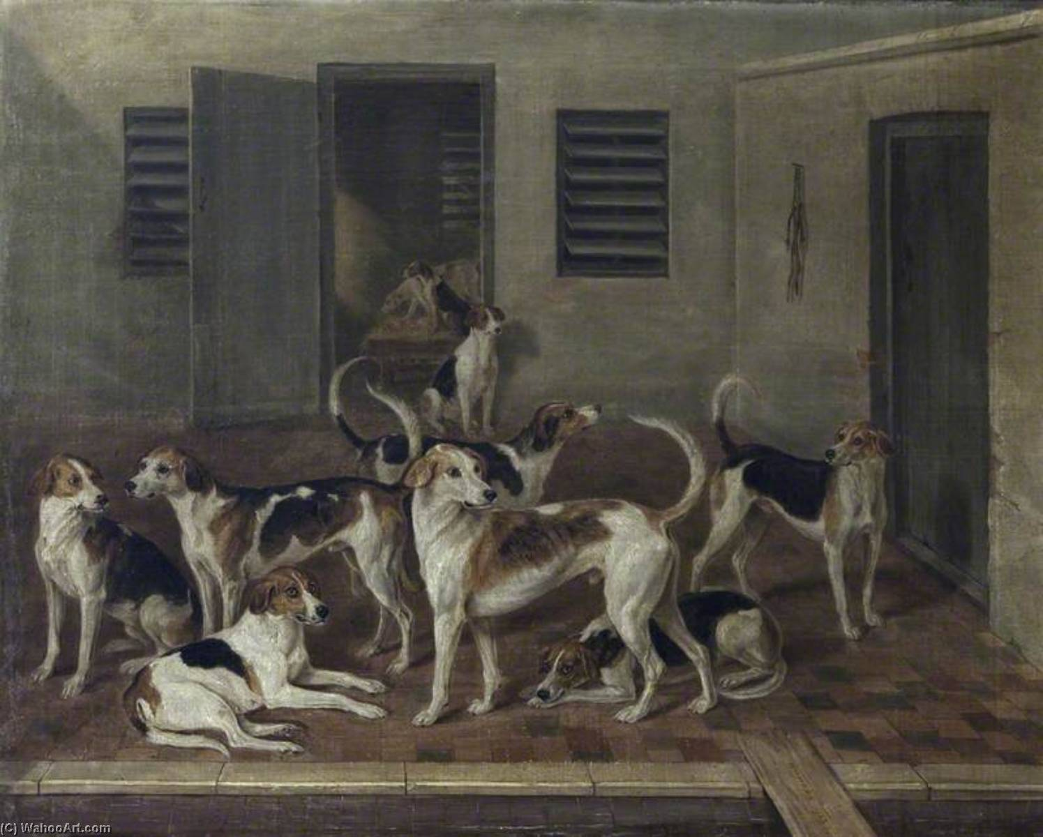 Foxhounds in Kennels, Oil On Canvas by William Webb