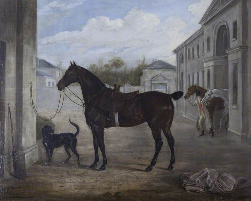 A Hunter and a Retriever outside Shugborough Stables, 1824 by William Webb | Art Reproductions William Webb | WahooArt.com