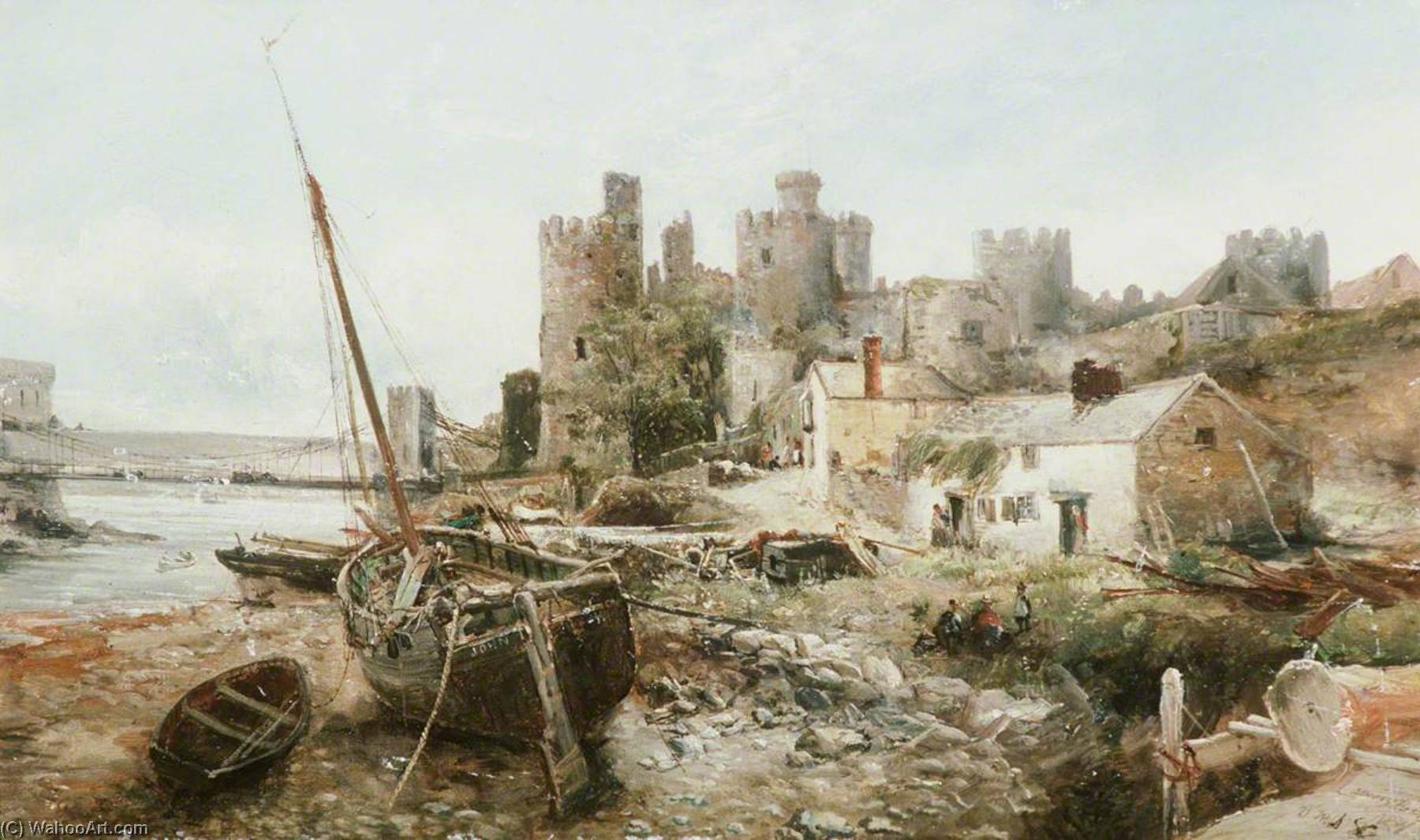 Conway Castle, Oil On Canvas by William Webb