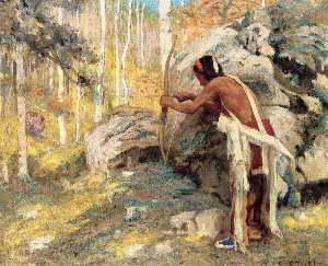 Eanger Irving Couse - Hunting the Turkey in the Aspens