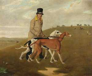 Edmund Ward Gill - A Huntsman and Two Greyhounds, Called 'Dorset' and 'Dewdrop'