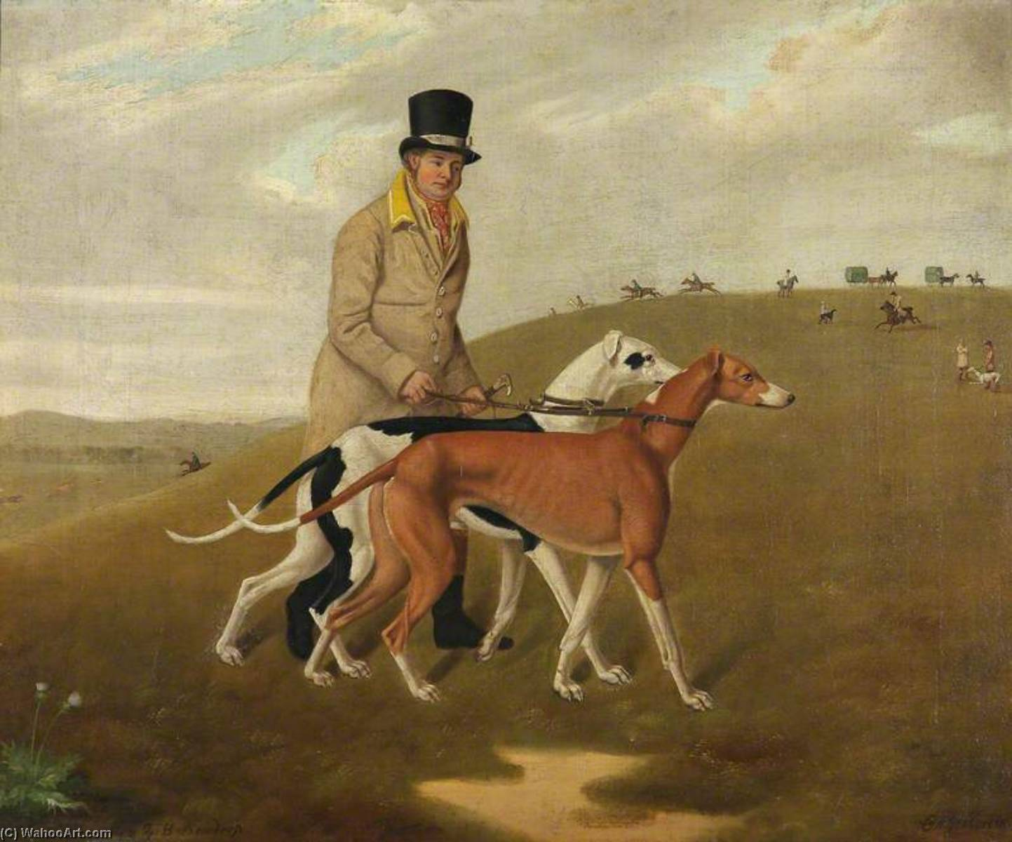 A Huntsman and Two Greyhounds, Called 'Dorset' and 'Dewdrop', 1822 by Edmund Ward Gill | Famous Paintings Reproductions | WahooArt.com