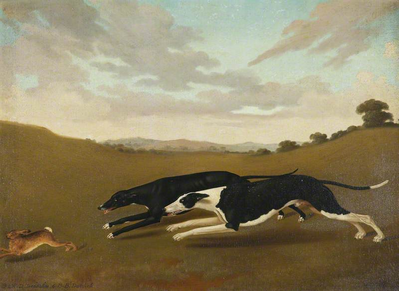 Two Greyhounds, Called 'Deadalas' and 'Datchess', Oil On Canvas by Edmund Ward Gill
