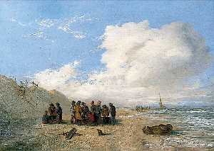 Alfred Priest - Beach Scene with Fishermen and Fishing Baskets in the Foreground