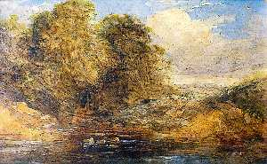 Alfred Priest - Landscape with a Stream Passing through Trees, a Pond in Foreground