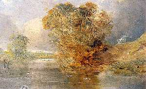Alfred Priest - River Scene with a Tree to the Right and Wooden Palings on the Left