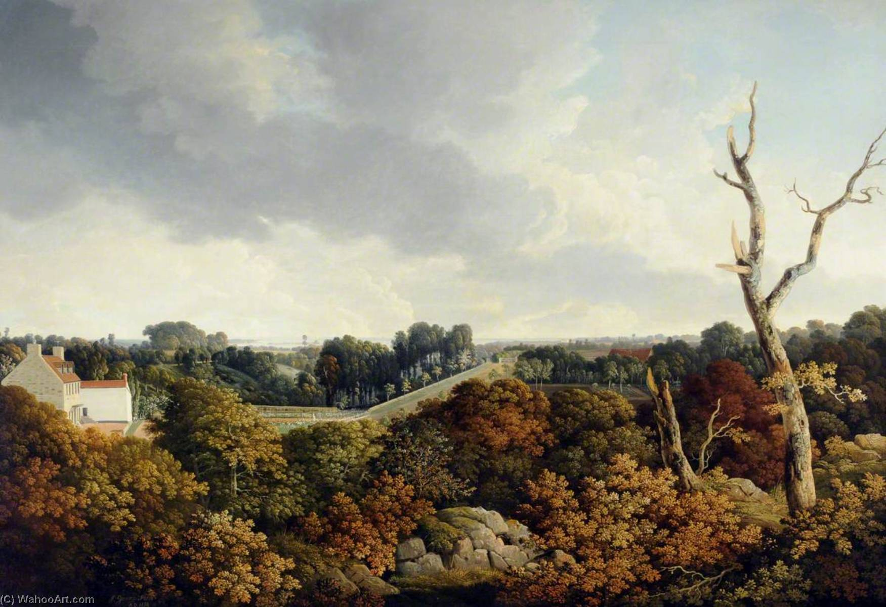 View of Le Coin with Elizabeth Castle in the Distance, 1814 by John Tobias Young | Museum Quality Reproductions | WahooArt.com