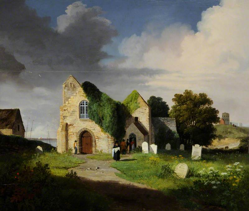 St Sampson's Church, Guernsey, Built AD 1111, Oil by John Tobias Young