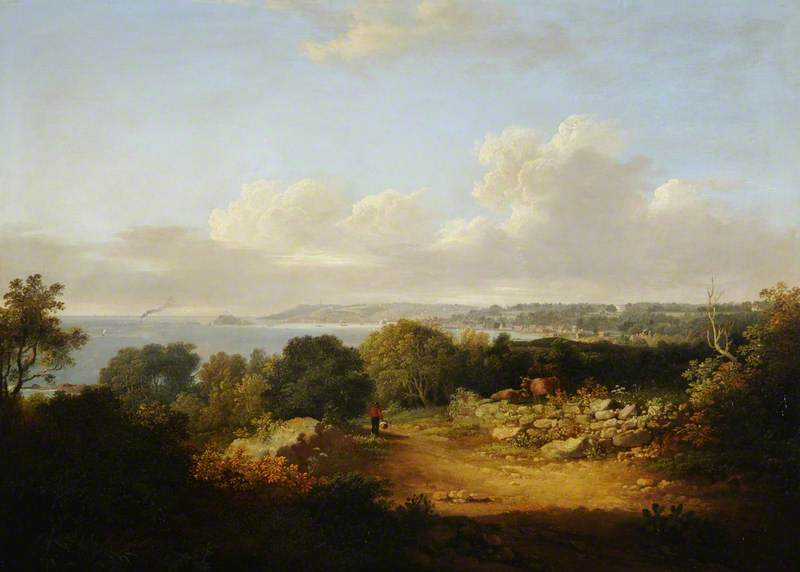 A View from Delancey, Guernsey, 1827 by John Tobias Young | Famous Paintings Reproductions | WahooArt.com
