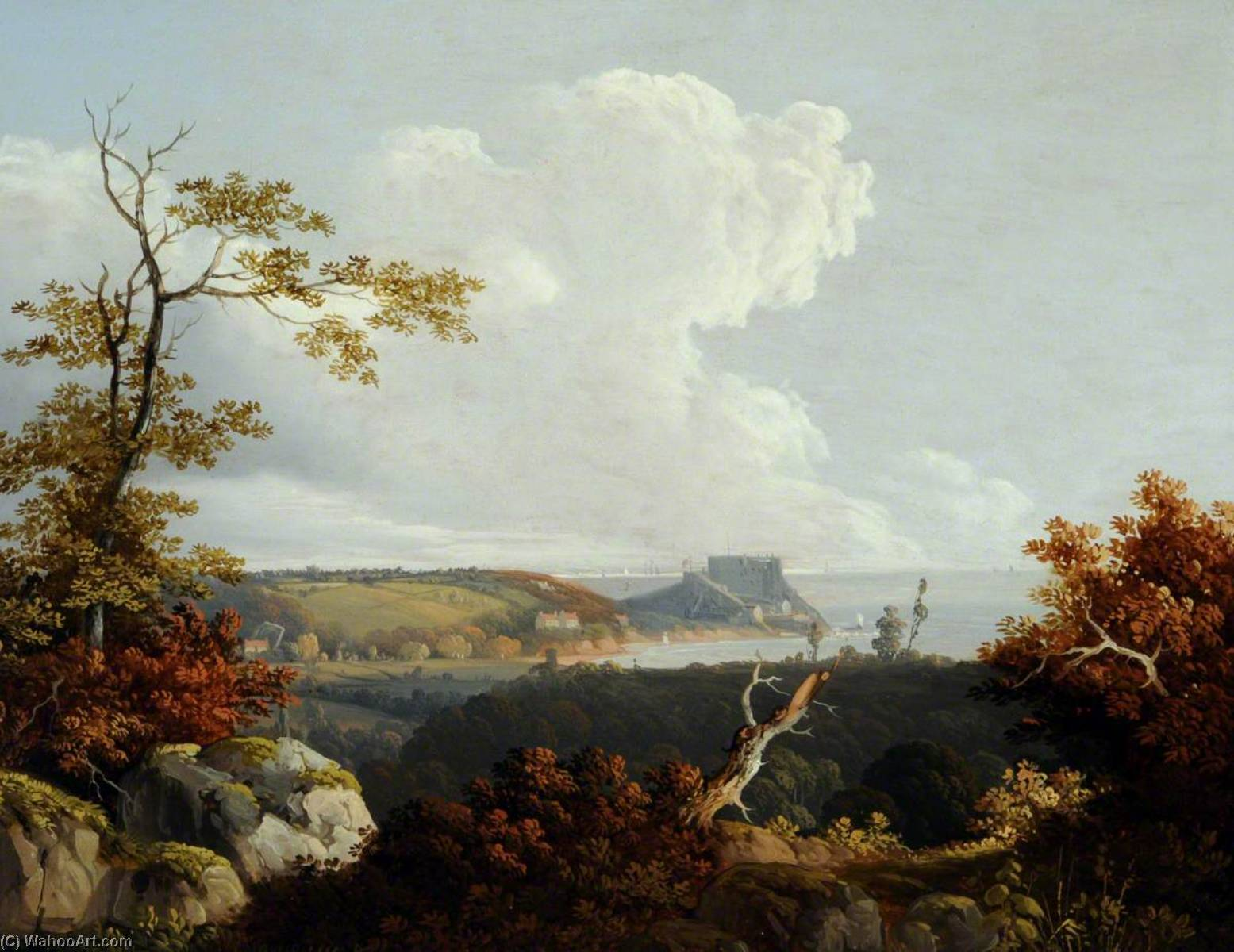 Order Painting Copy : View of Mont Orgueil, 1814 by John Tobias Young | WahooArt.com