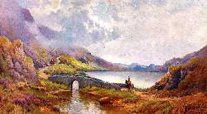 Alfred De Breanski Senior - Horseman and Bridge at the Gap of Dunloe, Killarney