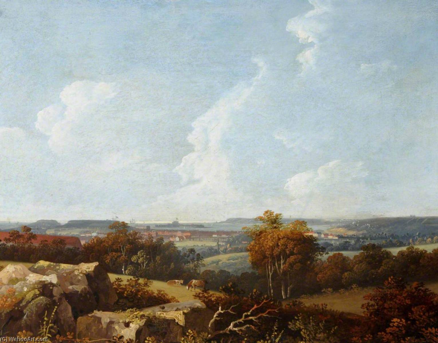 View of Fort Regent, Elizabeth Castle and Noirmont, 1814 by John Tobias Young | Famous Paintings Reproductions | WahooArt.com