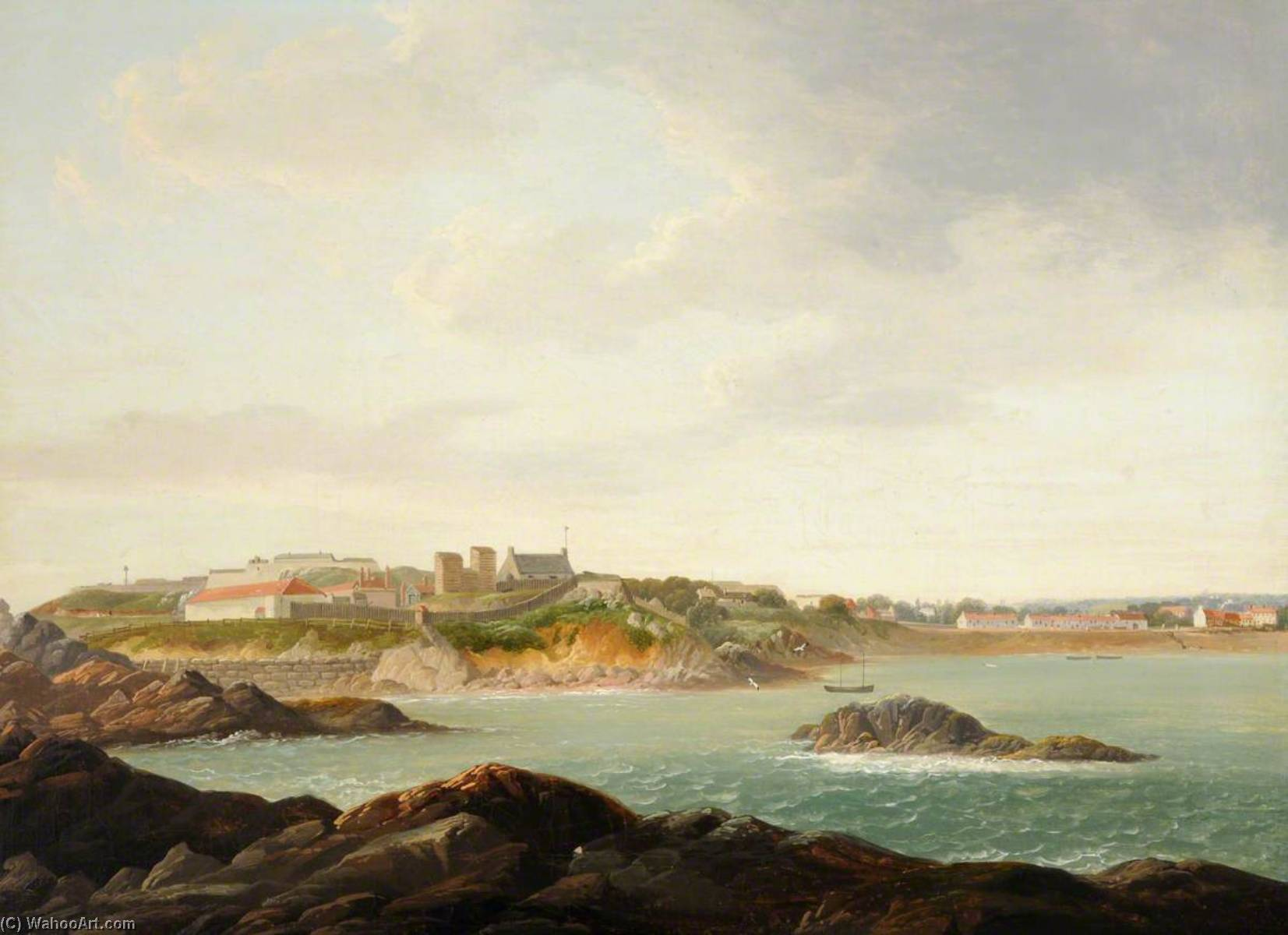View of St Clement`s, Jersey, 1815 by John Tobias Young | Art Reproduction | WahooArt.com
