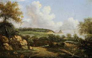 Order Art Reproduction : Landscape and Sea View Looking towards Gorey Castle by John Tobias Young | WahooArt.com