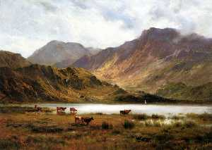 Alfred De Breanski Senior - The Glyders from Llyn Ogwen