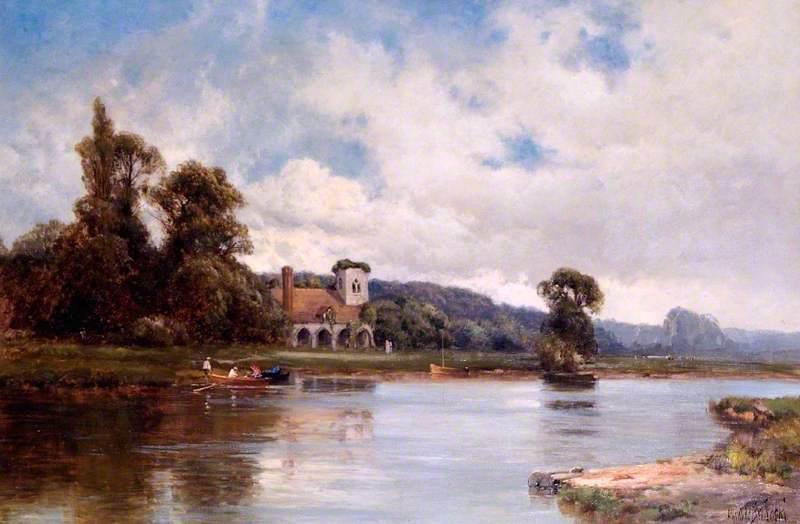Medmenham Abbey and Ferry on the Thames, Buckinghamshire, 1900 by Alfred De Breanski Senior (1852-1928, United Kingdom) | Museum Quality Reproductions | WahooArt.com