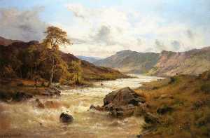 Alfred De Breanski Senior - Fishing at Capel Curig, North Wales
