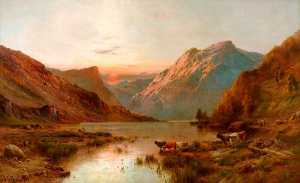 Alfred De Breanski Senior - Golden Sunset, Loch Lubnaig