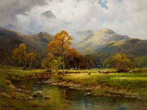 Alfred De Breanski Senior - The English Lakes, Autumn in Easedale