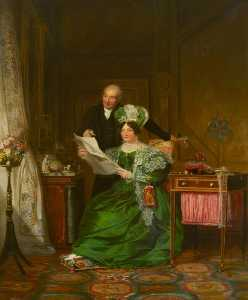 Alexander Mosses - A Lady and a Gentleman Admiring Drawings of Flowers in an Interior