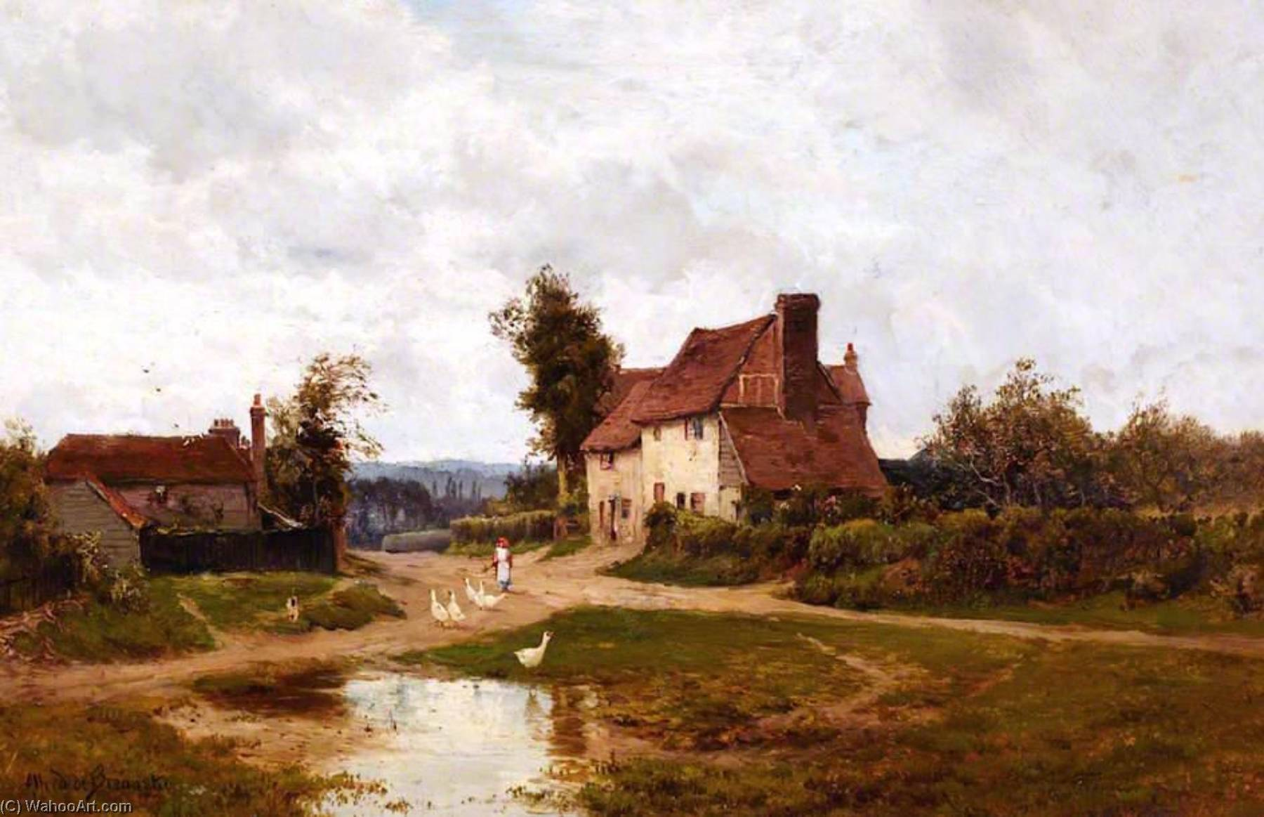 In Orpington Village, Kent by Alfred De Breanski Senior (1852-1928, United Kingdom) | Oil Painting | WahooArt.com