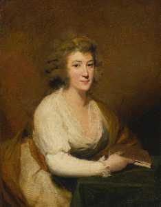 Henry Raeburn - Portrait of Lady Nasmyth, in a white dress and brown shawl, seated at a table, holding a book