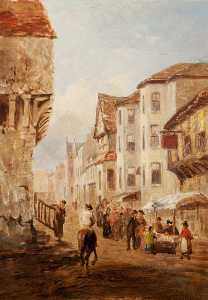 George Hayes - Market Scene in the High Street, Conwy