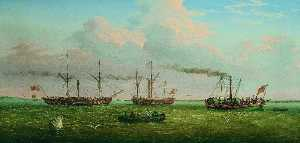 Thomas Binks - Three Paddle Steamers in Hull Roads ('Kingston', 'Prince Frederick' and 'Calder')