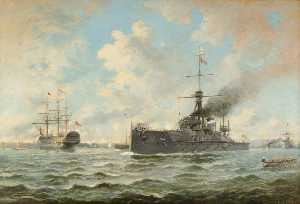 Henry J Morgan - -Dreadnought- and -Victory- at Portsmouth